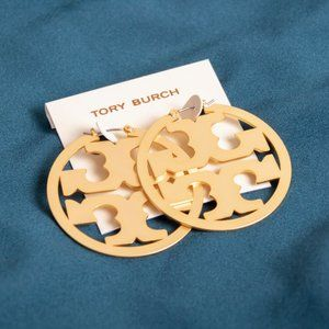 Tory Burch Miller Logo Gold Hoop Earrings